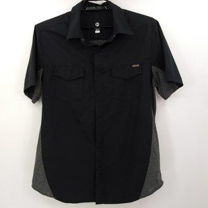 Merrell Mens Large Camp Shirt Black Gray Short Slv
